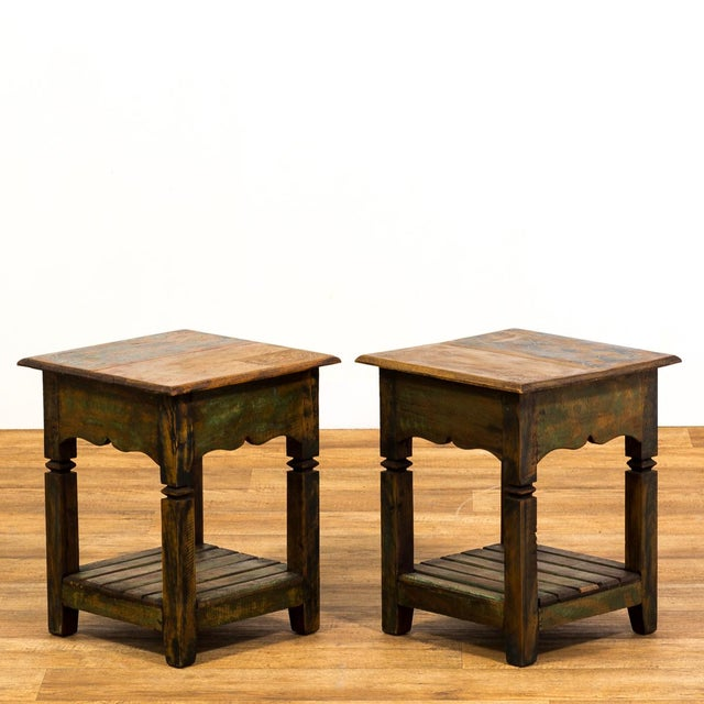 Reclaimed Solid Wood Side Tables - A Pair - Image 4 of 5