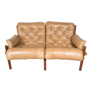 Inca Safari Lounge Sofa in Butterscotch Leather by Arne Norell For Sale