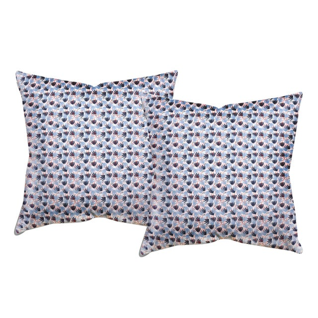 """Modern Pepper Eden in Blue 20"""" Pillows - a Pair For Sale - Image 3 of 3"""