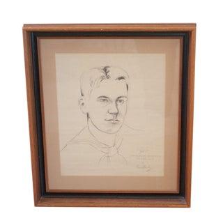 Original Portrait Sketch - WWII Sailor, Framed For Sale