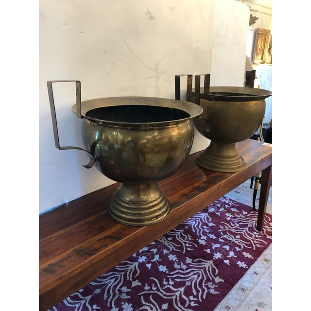 19th Century French Brass Planters Urns - A Pair For Sale - Image 10 of 12