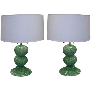 A Pair of Murano, Hand-Blown Sphere Lamps For Sale