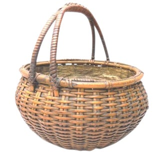 Japanese Bamboo Basket Ikebana Tea Ceremony Flower Antique Vase Flower Sumikago