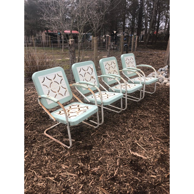 1960s Country Garden Arm Chairs in Light Turquoise and White - Set of 4 For Sale - Image 5 of 12