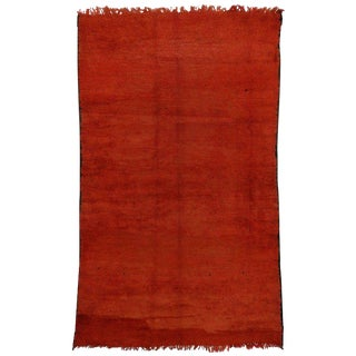 20th Century Moroccan Berber Red Rug With Tribal Style - 6′9″ × 11′5″ For Sale