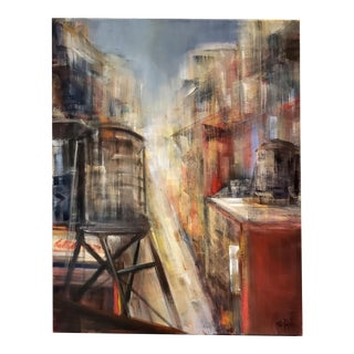 Painting of New York City Rooftops and Water Towers by M. C. Pajeile For Sale