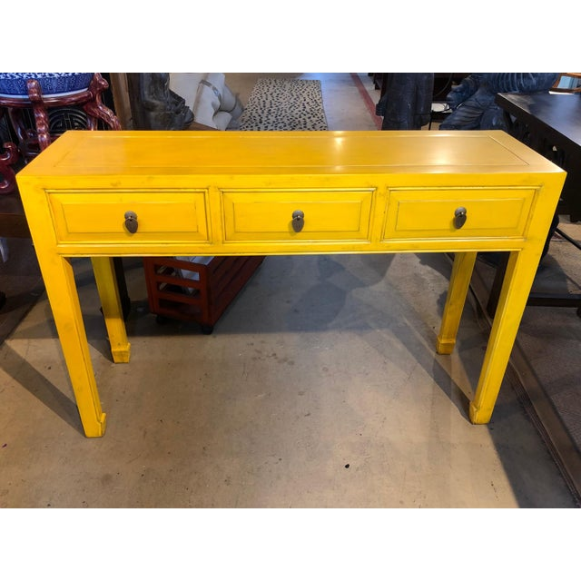 Wood Asian Style Yellow 3-Drawer Console Table For Sale - Image 7 of 7