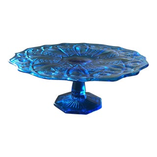 Cobalt Blue Geometric Glass Cake Stand For Sale