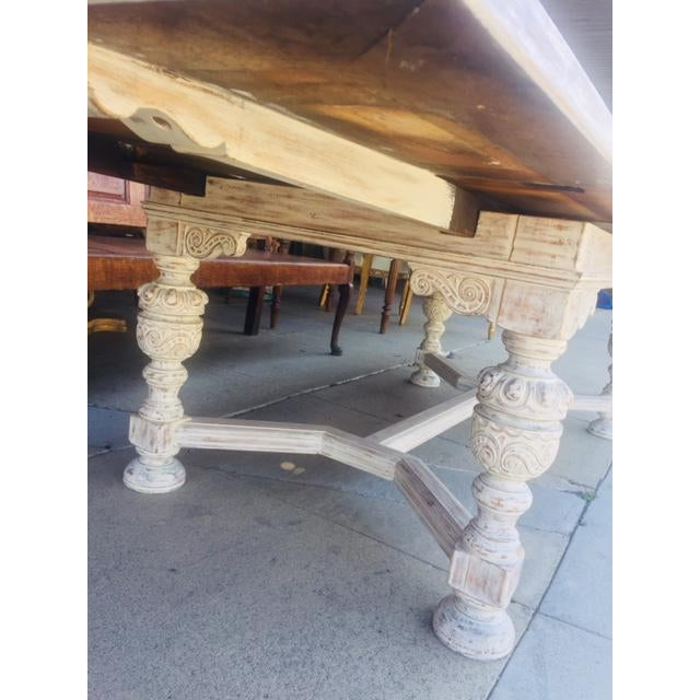 Vintage Carved Wood Refectory Table With Sliding Leaves For Sale - Image 12 of 13