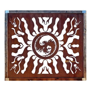 Mid 20th Century Steel Silhouette Torch Cutout Panel With Flame and Phoenix Design For Sale