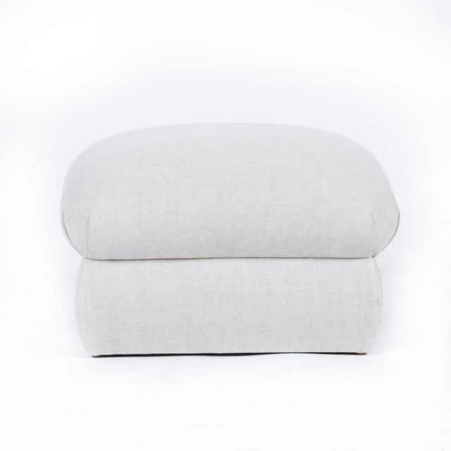 English Traditional Casa Cosima Milan Ottoman in Oatmeal Linen, a Pair For Sale - Image 3 of 7