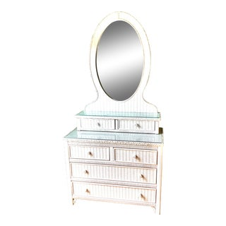 Vintage Henry Link White Wicker Mirror Dresser Top With Two Drawers For Sale