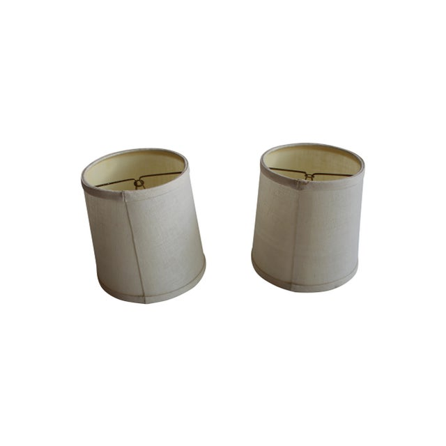 Clip-on Beige Linen Sconce Shades - A Pair - Image 2 of 5