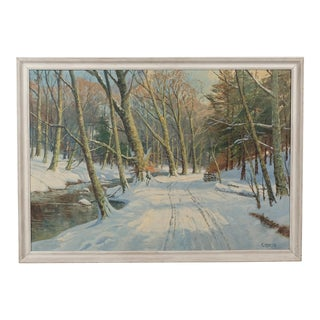 Early 20th-C. Snowy Forest Path Landscape by Viggo Jespersen For Sale