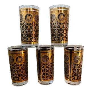 Vintage Fred Press 22k Gold and Black Glasses - Set of 5 For Sale