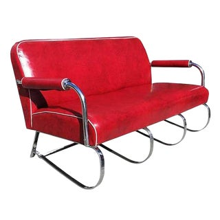 Kem Weber Chrome Tubular Sofa by Loyd Manufacturing For Sale