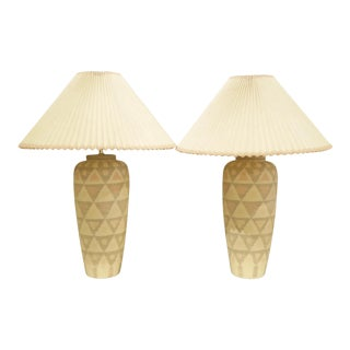 Pair Modern Geometric Motif Vase Form Pottery Table Lamps - No Shades. For Sale