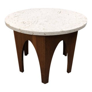 1960s Mid-Century Modern Walnut & Travertine Side Table
