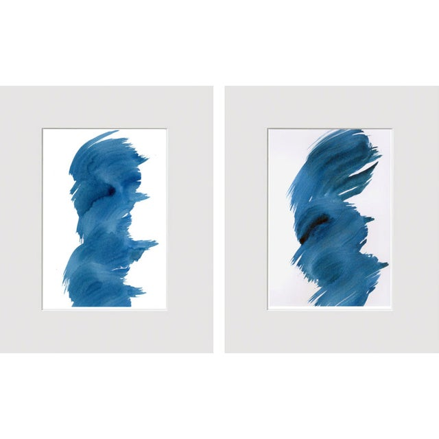 """Blue Fever"" Modern Abstract Watercolor Matted Paintings - a Pair - Image 4 of 4"