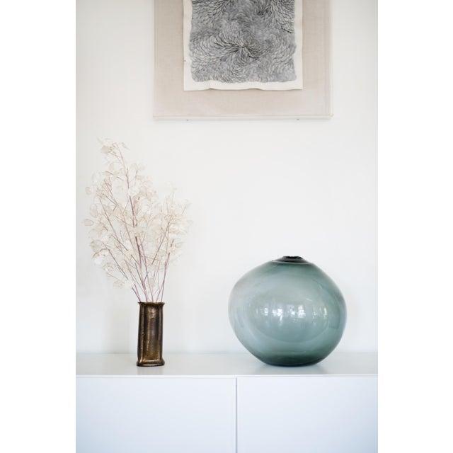 "2010s SkLO Float Glass Vessel 8"" - Amber For Sale - Image 5 of 10"