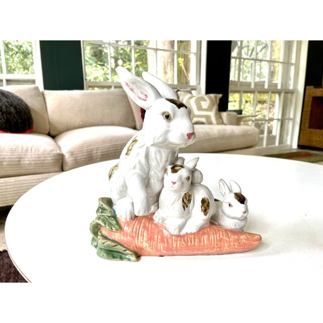 Vintage Provençal style hand painted ceramic statue or table centerpiece of a mother bunny guarding over her baby bunnies...