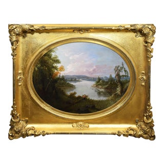 Unknown Antique American Early Hudson River School Sporting Art Duck Hunt Oil Painting 1860 For Sale
