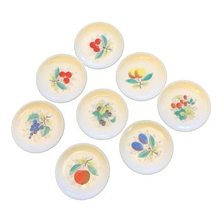 1940s Westmoreland Glass Handprinted Fruit Milk Glass Plates - Set of 8 For Sale