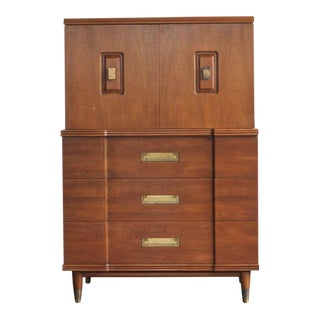 1960s Neoclassical Widdicomb Walnut and Brass Dresser For Sale