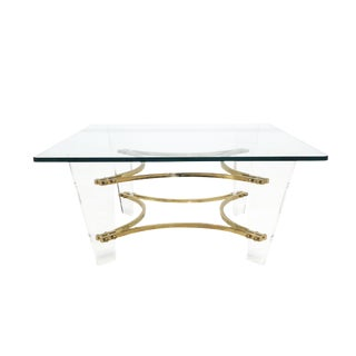 Mid Century Modern Charles Hollis Jones Lucite & Brass Coffee Table