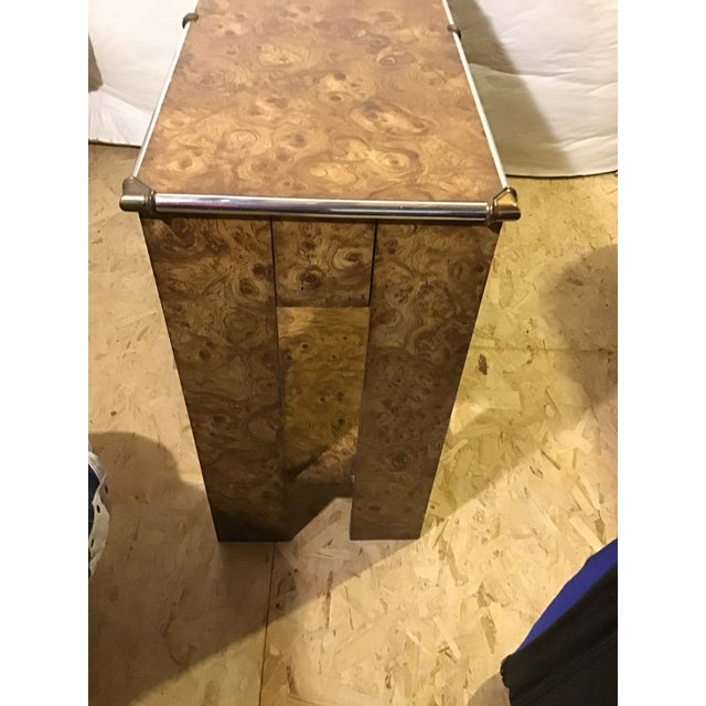 1970s Hollywood Regency Faux Burl Wood Laminate Console For Sale In Denver - Image 6 of 9