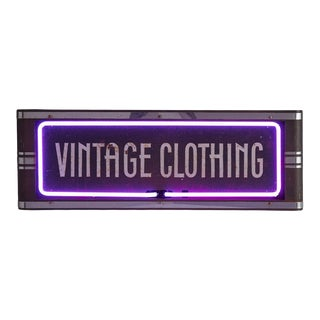 Super Cool Streamlined Vintage Clothing Sign W/ Purple Neon Circa 1940s