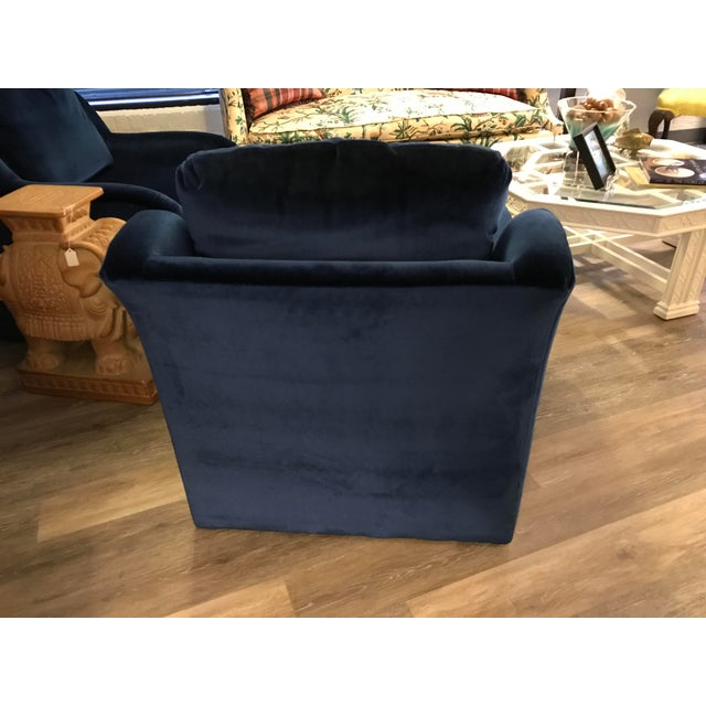Blue Velvet Chairs - a Pair - Image 4 of 5