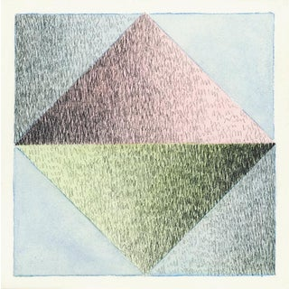 """Scribble Series """"Triangle 7"""" Watercolor Painting For Sale"""