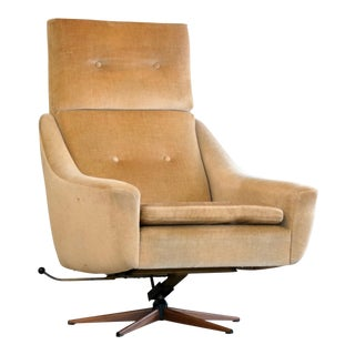 Danish Mid Century Modern Highback Swivel Chair