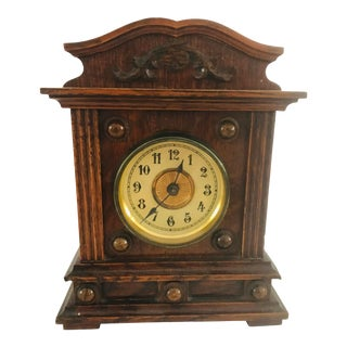 Antique Late 19th Century German Wooden Alarm Clock For Sale