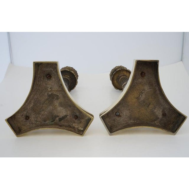 Metal Vintage Neoclassical Revival Candlesticks in Patinated & Polished Brass Candle Holders - a Pair For Sale - Image 7 of 12