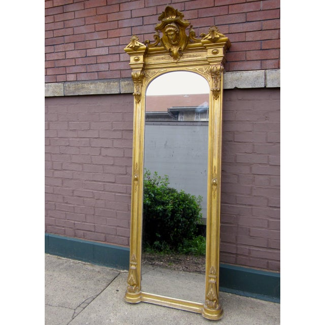 Metal 1820 Antique Renaissance Revival Gold Gilt Pier Mirror With Bust of Columbia For Sale - Image 7 of 7