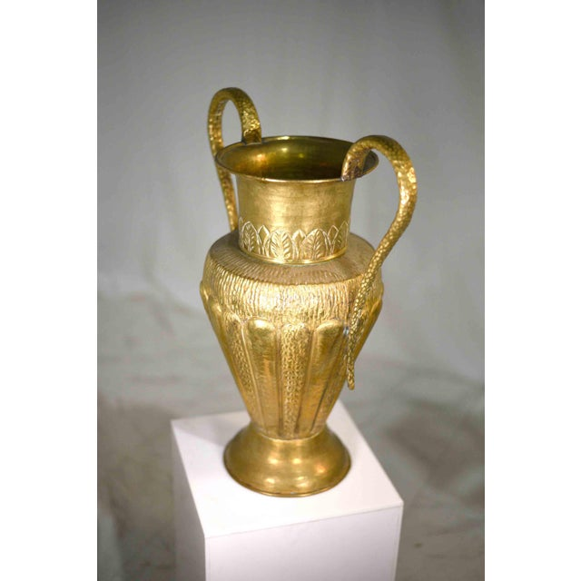 Vintage Classical Hammered Brass Amphora 22 Inches For Sale - Image 12 of 13