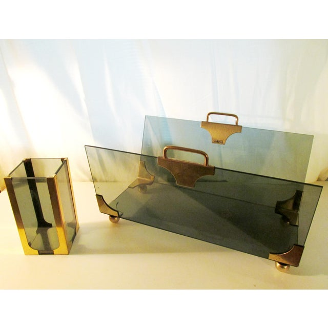 1970s 1970's Hollywood Regency Fireplace Log and Matches Holder For Sale - Image 5 of 5