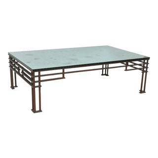 "A French Modern Iron & Mirrored Glass ""Atilla"" Low Table, Jean- Michel Wilmotte For Sale"