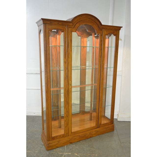 Jasper Traditional Oak Beveled Glass Lighted Curio Display Cabinet - Image 9 of 9