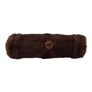 Vintage Mink Fur Bolster Pillow For Sale