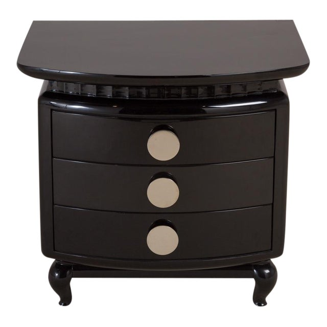Stunning Jet Black Lacquered Three-Drawer Commode, 1980s - Image 1 of 6