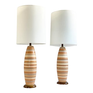 Tall Mid Century Terra Cotta and Peach Striped Ceramic Table Lamps - a Pair For Sale