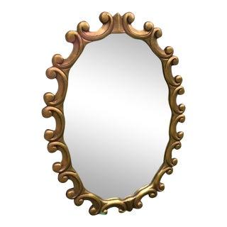 Vintage Mid Century Modern Gold Curl Wood Frame Mirror For Sale