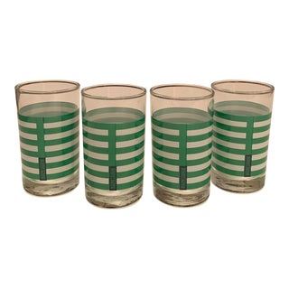 Ralph Lauren Green & White Striped Juice Glasses - Set of 4 For Sale