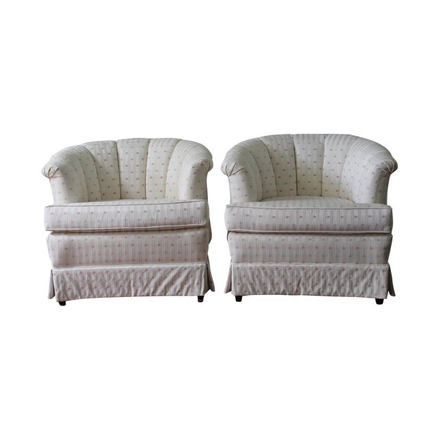 Upholstered Tufted Barrel Chairs - A Pair For Sale