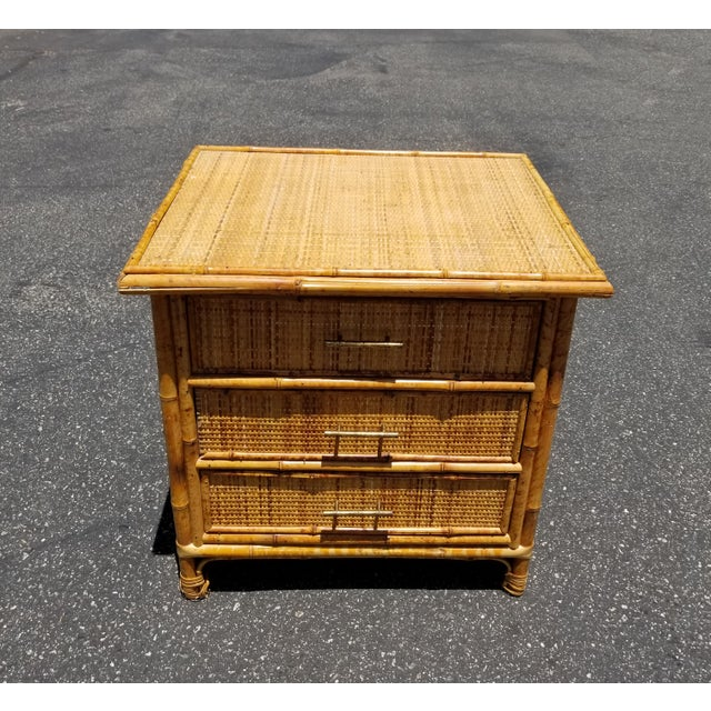Vintage Mid Century Modern Bamboo Rattan Nightstand Unique Nightstand in Good Vintage Condition. Solid and Firm. Wear is...