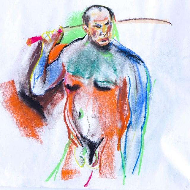 Samurai Nude Pastel Drawing - Image 1 of 3