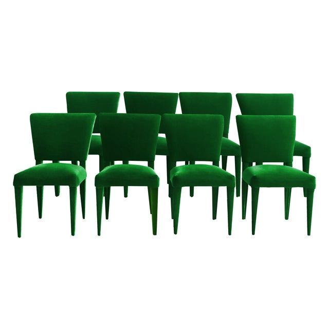 BOND Design Studio Stiletto Dining Chairs Fully Upholstered in Emerald Mohair - Set of 8 For Sale - Image 4 of 4